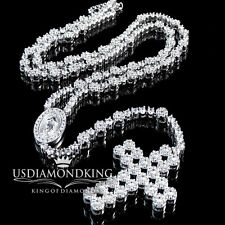 14k WHITE GOLD FINISH HOT SIZZLING FLOWER BEADS ROSARY CROSS NECKLACE CHAIN 38""