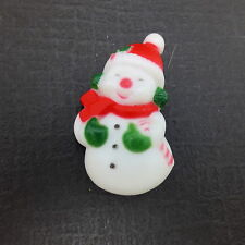 Vtg Celluloid Plastic Snowman Brooch Pin Red Hat Scarf Candy Cane
