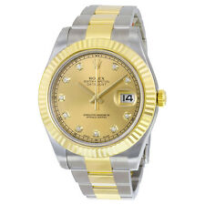 Rolex Mens Datejust II Champagne Automatic 18K Gold Swiss Made Watch 116333CDO