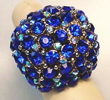 Blue Sapphire Crystal Dome Stretch Cocktail Ring Silver Tone Band
