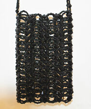 CHIC DRESSY BLACK HAND BEADED CELL PHONE IPOD PURSE DIABETIC TESTER HOLDER SMALL