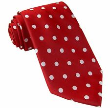 New men's polyester woven neck tie necktie prom polka dots red white