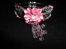 Vintage Bracelet Rhinestone Crystal Huge Statement Cocktail STUNNING Pink Rose