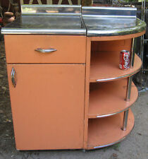 ART DECO MID CENTURY KITCHEN CHROME COUNTER TOP TABLE CABINET DRAW STAND SHELF