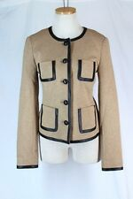 TRINA TURK $386 Jacket Size 4 SMALL Heather Camel Black Trim Button Front Career