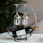 Metal Wine Rack Bottle Glass Cup Holder Modern Moon Boat Table XT