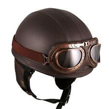 Vintage Motorcycle Motorbike Scooter Half Leather Helmet Brown + Goggles