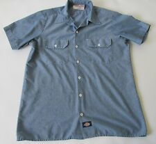 Dickies Work Wear Men's Short Sleeve Chambray Blue Button Down Shirt MD