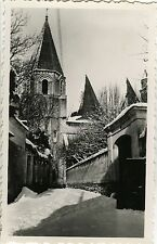 PHOTO ANCIENNE - VINTAGE SNAPSHOT - ÉGLISE ST OURS LOCHES NEIGE - CHURCH SNOW 2