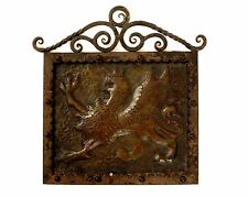 MEDIEVAL COPPER GRIFFIN Sculpted Hammered Etched Plaque FORGED Iron Frame Rivets