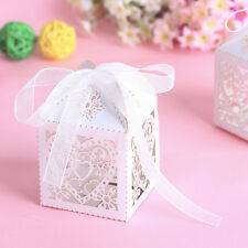 New 50 PCS Love Heart Laser Cut Candy Gift Boxes With Ribbon Wedding Party Favor