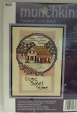 Home Sweet Home Munchkins Counted  Cross Stitch kit # 308 5 x 7 finished NIP