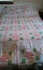 Vintage Chenille Bedspread White w/ Pink Flowers & Greenery QUEEN 3/4 TO FLOOR