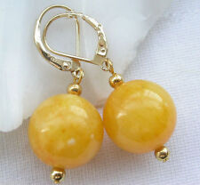 Pretty Natural 14MM Yellow Jade Gemstone Gold Plated Leverback Earrings