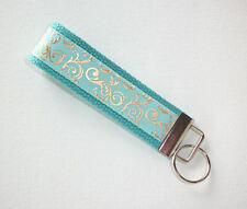 Key Fob - Wristlet - keyChain -  keylette - key chain metallic gold mint aqua
