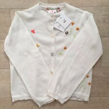 BONPOINT BABY GIRL CARDIGAN White SZ 24m 2 Years Bottons Floral Embroidery NWT