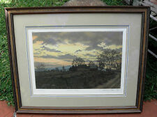 """1985 ARTIST PROOF KATHLEEN CANTIN'S ETCHING """"FAIRHAVEN FARM"""" MUSEUM FRAMING"""