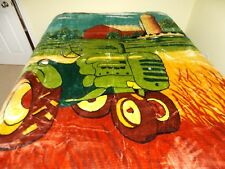 NEW QUEEN SIZE BIG GREEN TRACTOR ON COUNTRY FARM KOREAN STYLE PLUSH MINK BLANKET