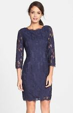 ADRIANNA PAPELL BOATNECK LACE OVERLA 3/4 SLEEVE SHEATH NAVY DRESS sz 10
