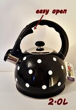 Whistling Kettle 2 L Stainless Steel Camping Silver/  black / dots / easy open