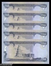 Iraq Dinar 1250 - 5 X 250 Dinar Notes   New & Uncirculated  Set Of 5 Collectible