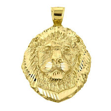 10k Yellow Gold Lion Head Frontal View Pendant (Made in USA)