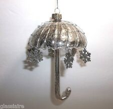 Vintage Mercury Glass Wire Wrapped UMBRELLA CHRISTMAS Tree Ornament Snowflakes