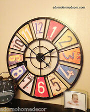 Large Metal License Plate Wall Clock Round Industrial Distressed Rustic Vintage