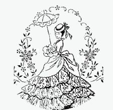 Vintage Embroidery Transfer repo 5264 Crinoline Lady for Pillow Case & Sheets