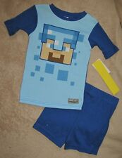 MINECRAFT *Face* Blue S/S Shirt Pajamas Pjs Boys sz 10