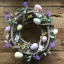 Spring Flower & Egg Wreath Easter Decoration Gisela Graham Country Wicker Twig