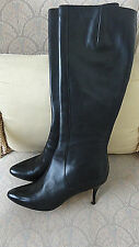 COLE HAAN BLACK TALL LEATHER BOOTS SIDE ZIPPERS SIZE 8