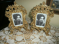 Antique Pair French Rococo Gilt Brass/Bronze Picture Frames~Louis XVI Style