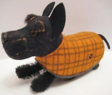 Old German Schuco Wind Up Scotty Dog Toy w/ Glass Eyes - wearing plaid coat