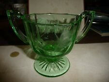 #1/6 vtg  green depression etched flowers sugar bowl doubloe handled
