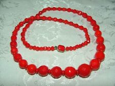 VINTAGE Beaded RED Signed CZECH GLASS NECKLACE