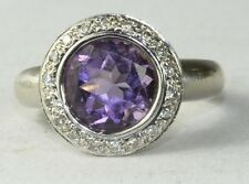 KING 18K WHITE GOLD 3 CARAT AMETHYST DIAMOND HALO RING SIZE 5 1/2