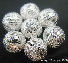 Free 50PCS Silver Hollow Jewelry making repair spacing Round Charms Beads 10MM