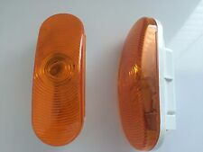 """2 pc Yellow/Amber 6.5"""" Inch Oval Marker Side Tail Turn Light Signal Lamp Trailer"""