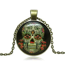 New Vintage Cabochon Bronze Glass Skull Charm Pendant Necklace #337