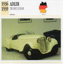 1936-1939 ADLER TRUMPF Junior Classic Car Photograph / Information Maxi Card