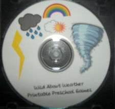 Weather themed preschool learning games.  Daycare school curriculum games for ch