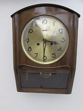 Stunning Vintage Hermle Walnut Wall Clock Chiming Fully Working Condition 8 Day