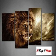 Lion Modern Painting 4 Piece Wall Art Framed Large Modern Canvas Painting Framed