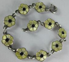 """Volmer Bahner Modernist Sterling Yellow Black Enamel Flower 6"""" Bracelet Denmark"""