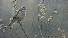 """Robert Bateman - """"White Throated Sparrow and Pussy Willow"""" limited edition print"""