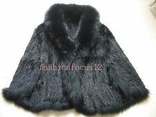 Elegant Lady Real Best Fox Collar Mink fur knitted Cape with Sleeves(brown)black