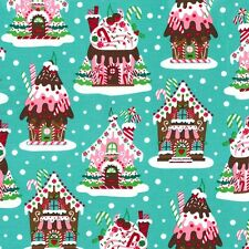 Michael Miller Gingerbread Houses Fabric in aqua- festive- christmas -By the FQ