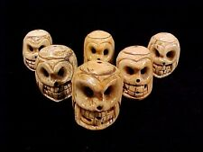 "6 Carved Cow Bone Skulls Lot of Six Goth Heads Day of Dead Skeleton 1 1/2"" Beads"
