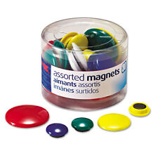 """Officemate Assorted Magnets, Circles, Assorted Sizes And Colors, 30 Per Tub"""